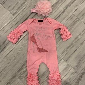 Baby diva newborn one piece & headband boxed set.